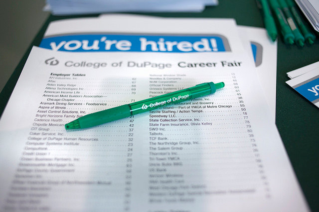 image of career fair resume hired college of dupage pen