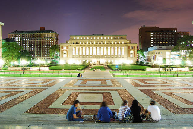 Students Sitting at Columbia University Commons in New York City