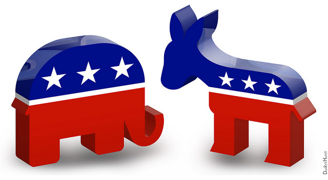 Republican Elephant and Democratic Donkey 3D Icons Politics in America