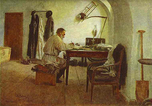 Leo Tolstoy writing in his study.