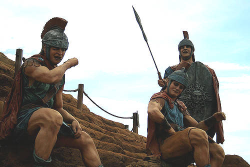 Roman Soldiers Sitting Outside
