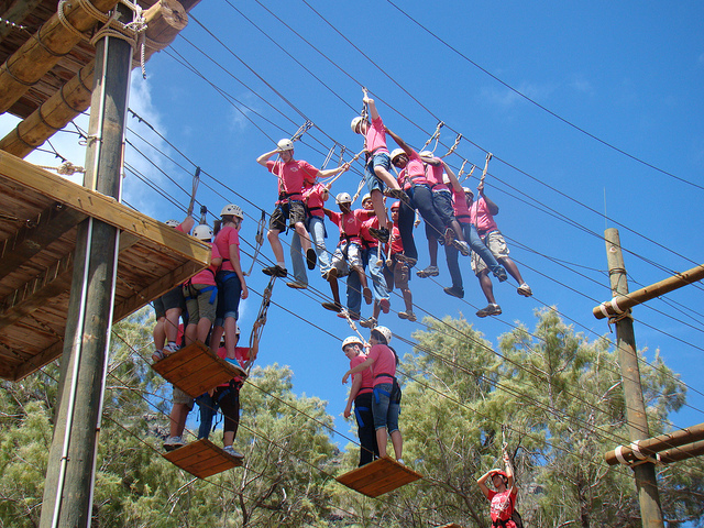 Group of people ziplining