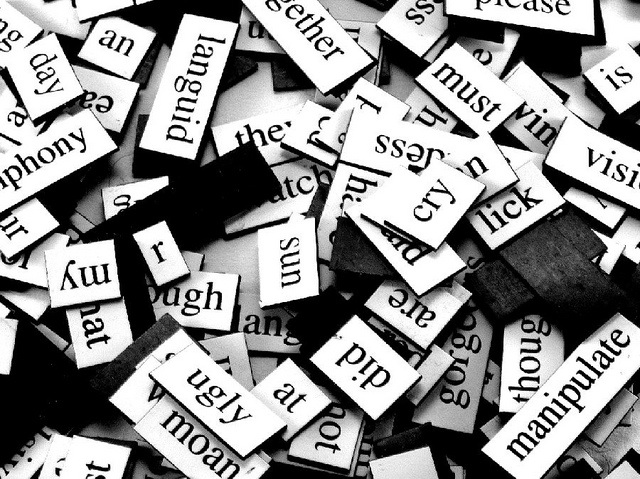 Group of English words magnets