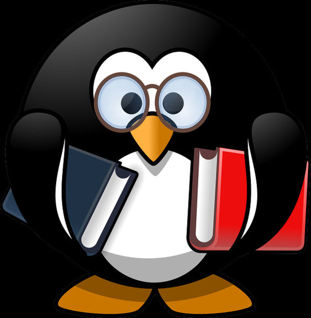 Penguin Student Cartoon with Glasses and Books