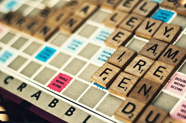 English vocabulary on Scrabble board game
