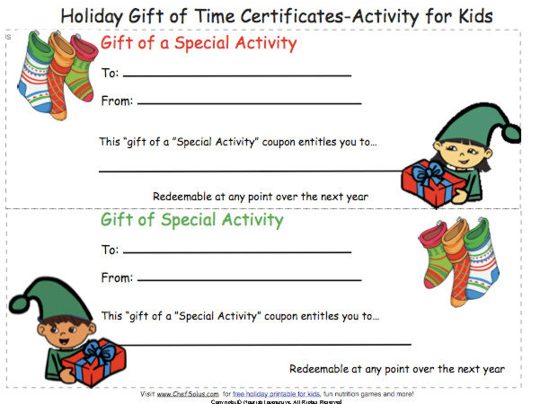 Coupon Gift Certificate Card Personalized Special Activities  Free Printable Christmas Gift Certificate