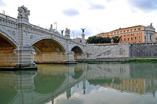 The Ponte Vittorio Emanuele II bridge in Italy that crosses the Tiber River