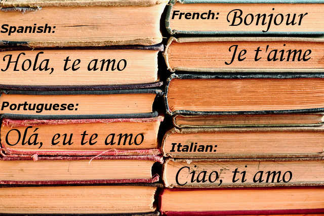 Greetings and I Love You in Spanish French Italian Portuguese, books, romance languages