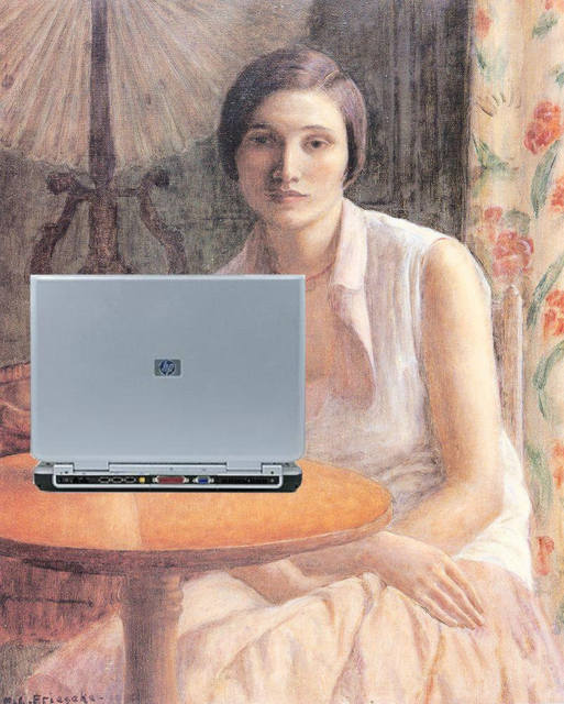 Portrait of a Woman Blogger on an HP Laptop after Frederick Carl Frieseke